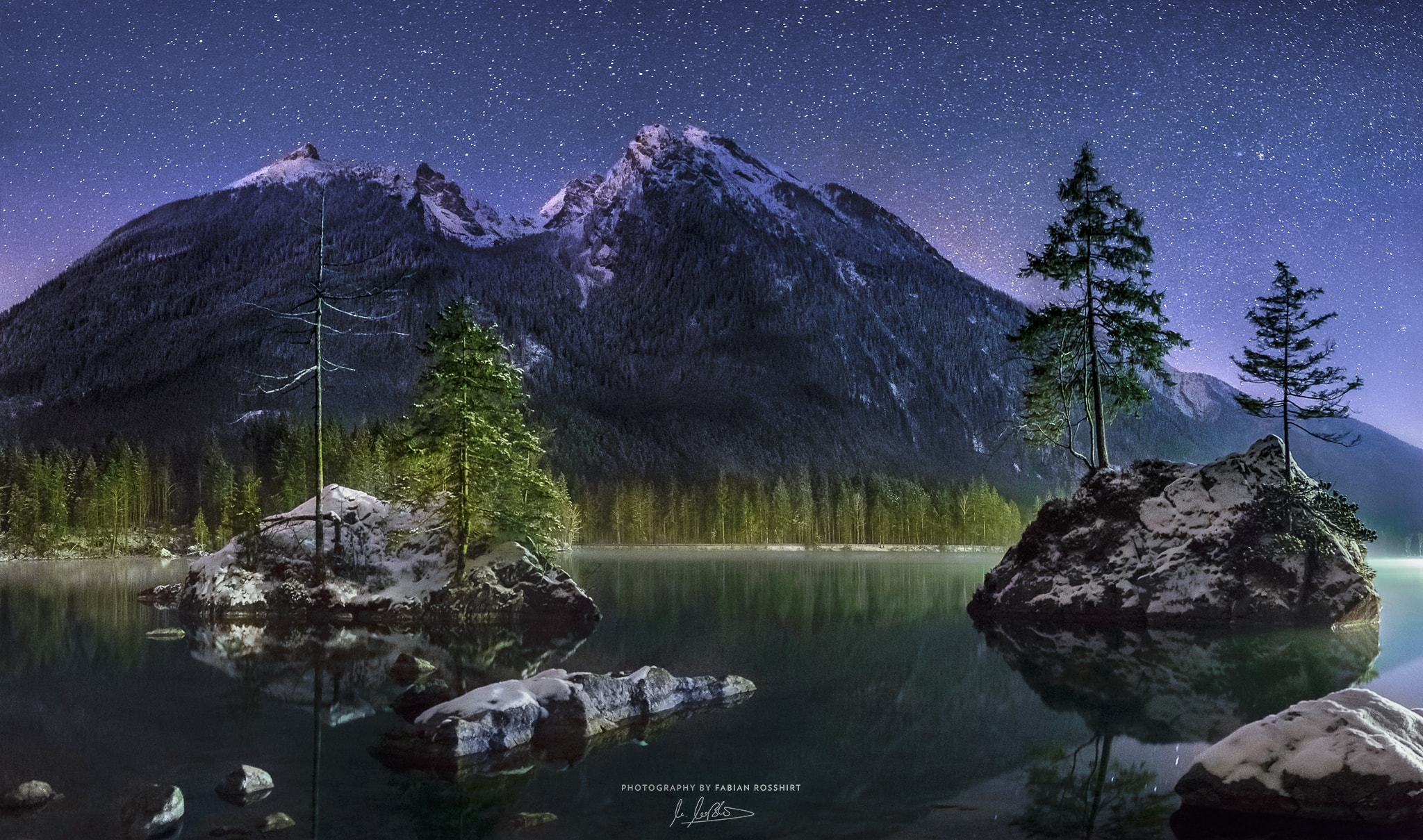 Hintersee, See, Gebirge, Sterne, Night, Milky Way, Milchstraße, Stars, Bavaria, Mountain, AMONG THE STARS (Berchtesgaden Wallpaper HD Bilder Hintergrundbild Background)