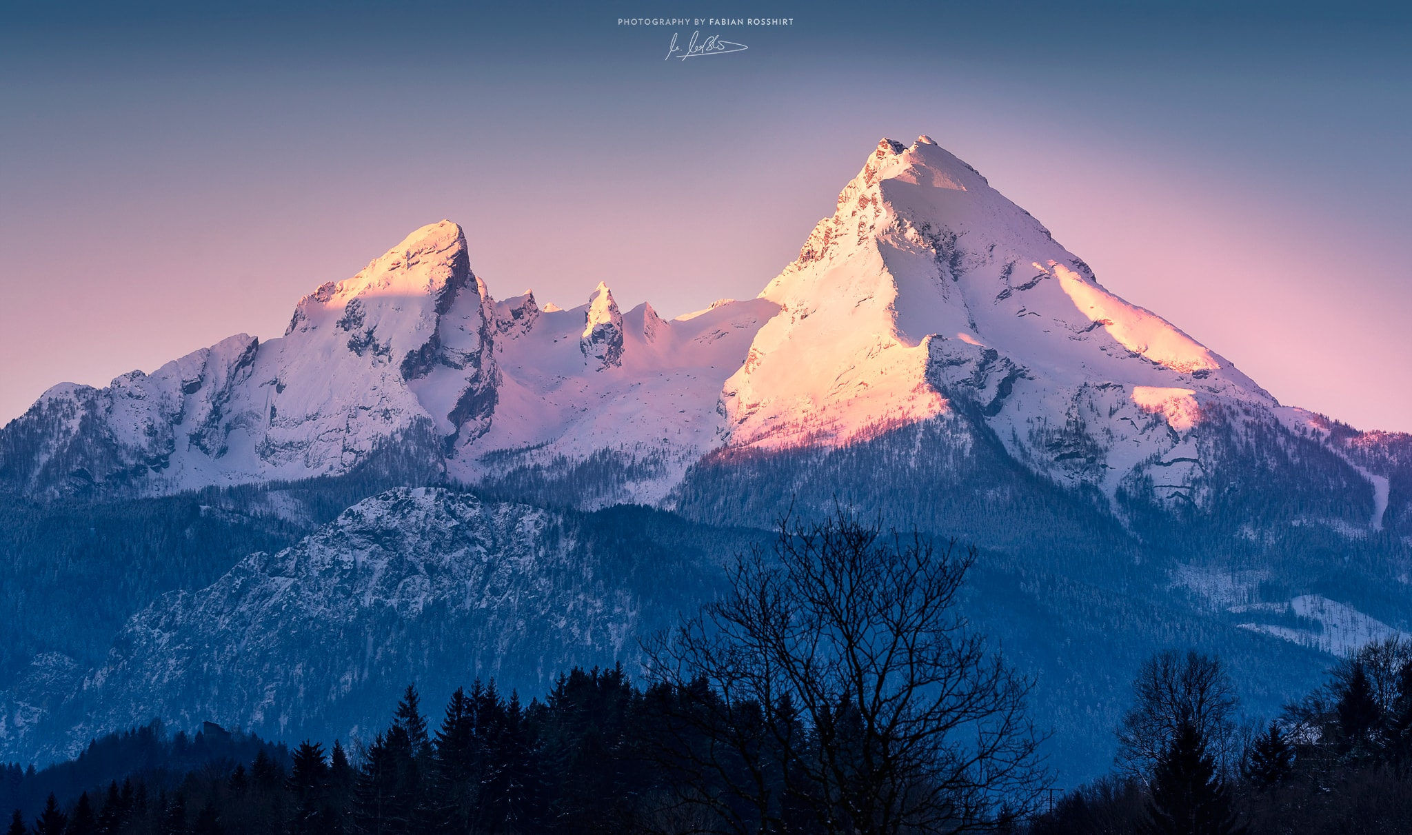 Watzmann, Berg, Sonne, Licht, Sonnenaufgang, Pink, Morgen, Morning, Mountain, Ridge, Sun, Light, MAJESTY (Berchtesgaden Wallpaper HD Bilder Hintergrundbild Background)