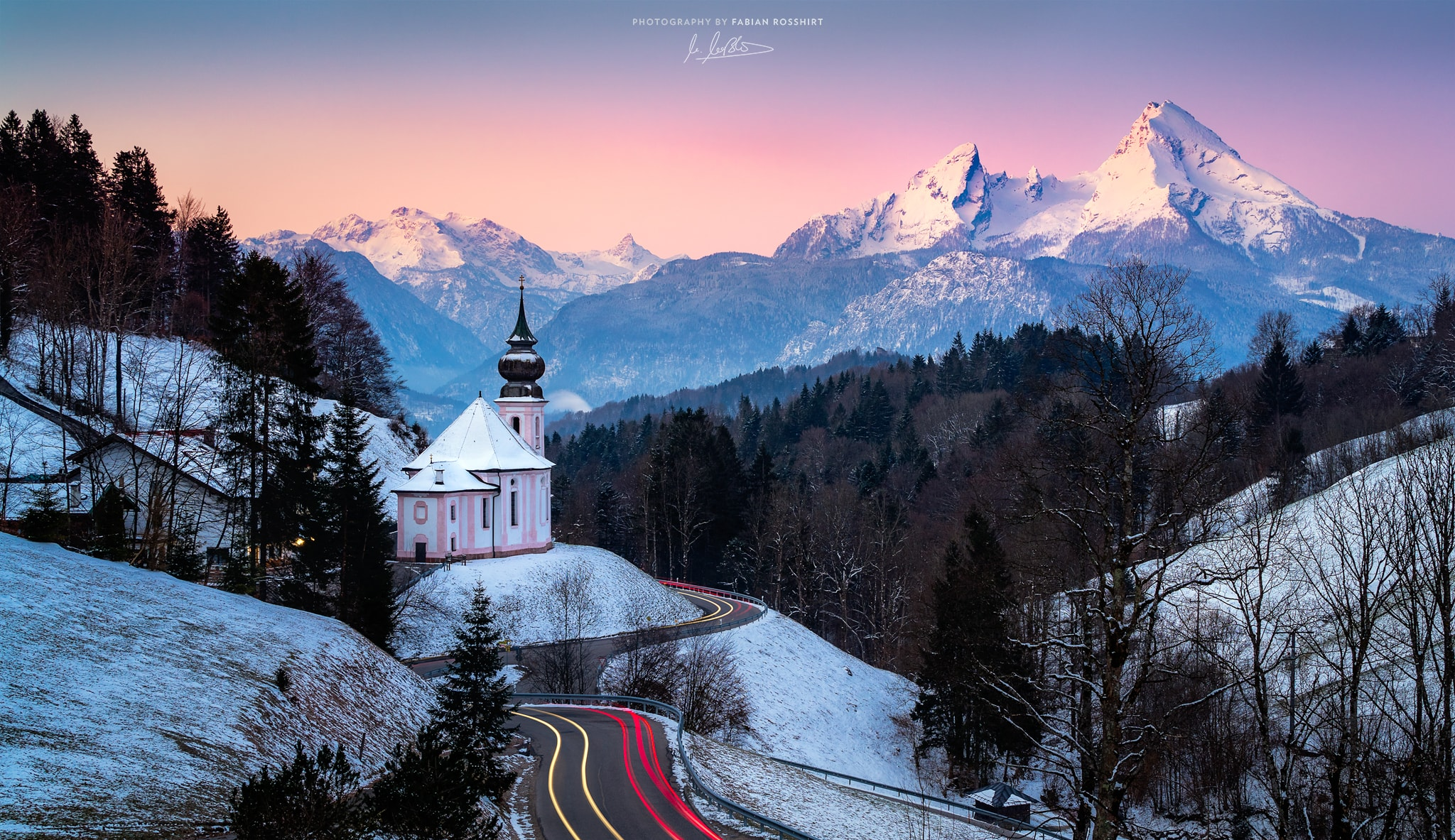 Maria Gern, Kapelle, Watzmann, Berg, Sonnenaufgang, Pink, Morgen, Morning, Chapell, Sun, Light, MOUNTAIN AWE (Berchtesgaden Wallpaper HD Bilder Hintergrundbild Background)