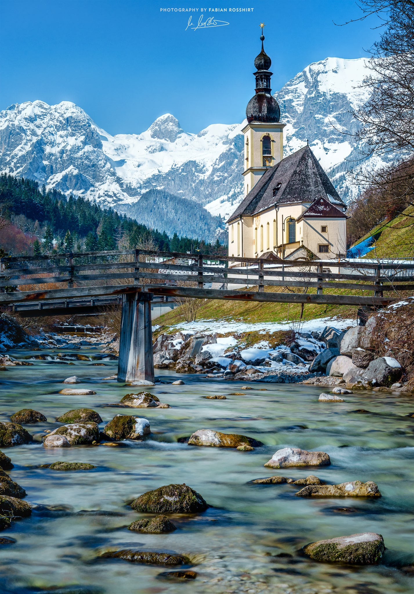 St. Sebastian, Ramsau, Berge, Wasser, Ache, Fluss, Sonne, Winter, River, Mountains, Kirche, Church, IMPRESSIVE (Berchtesgaden Wallpaper HD Bilder Hintergrundbild Background)