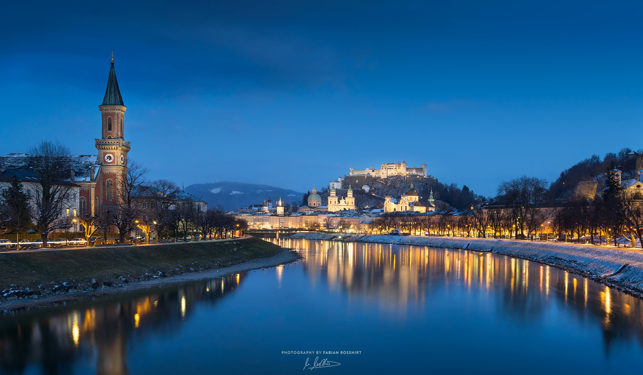 Salzburg, Österreich, Blaue Stunde, Blue Hour, City, Lights, Lichter, Reflection, Reflexion, Fluss, Festung, NIGHT FALLS (Berchtesgaden Wallpaper HD Bilder Hintergrundbild Background)
